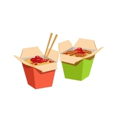 Two paper boxed with wok fried noodles for takeout vector