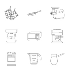 Kitchen set icons in outline style Big collection vector image