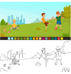 Coloring page kids composition vector