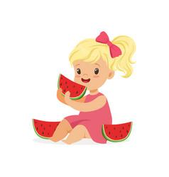 Sweet little blonde girl enjoying eating vector