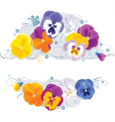 Pansies and forget-me-not vector