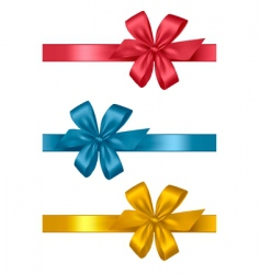 Three colored gift bows vector