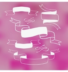 Ribbon banners on pink background vector