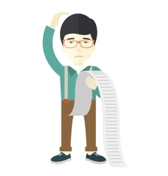 Sad japanese employee holding a list of payables vector