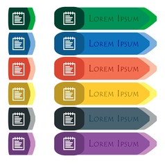 Notepad icon sign set of colorful bright long vector