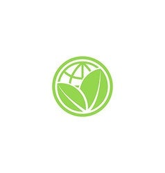 Green leafs and globe eco icon mockup save planet vector
