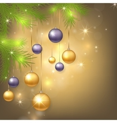 christmas background with baubles and tree vector image