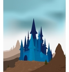 Ancient castle in the mountains vector