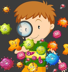 Boy looking at bacteria through magnifying glass vector image
