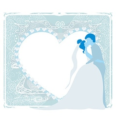 Stylish wedding invitation card with kissing vector