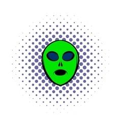 Alien green head icon comics style vector