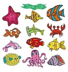 Cartoon funny fish sea life colored doodle vector