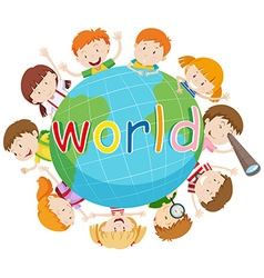 Children smiling around the world vector image vector image