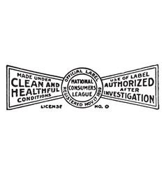 Consumers league label vintage vector