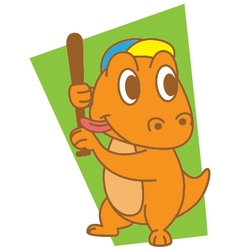 Dinosaur Playing Baseball vector image vector image