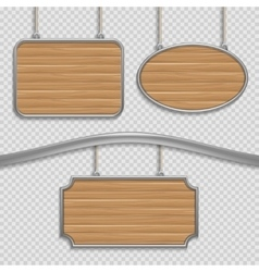 Empty wooden hanging signs isolated vector