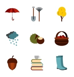 Falling leaves season icons set flat style vector image