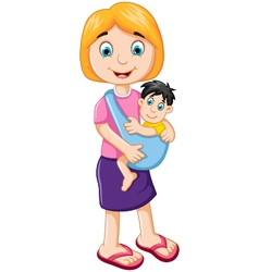 Happy mother holding her baby child vector