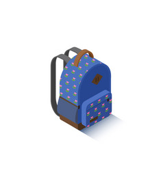 Isometric blue school backpack vector