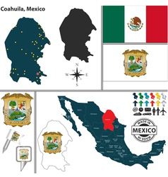 Map of Coahuila vector image vector image