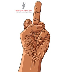 Middle finger hand sign African ethnicity detailed vector image vector image