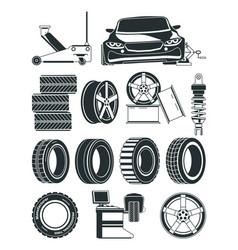 Monochrome of tires service symbols vector