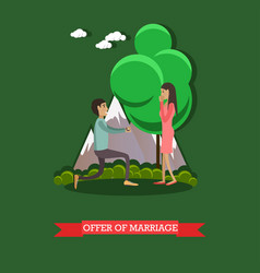 Offer of marriage in flat vector