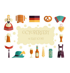 oktoberfest beer festival flat icons design vector image vector image