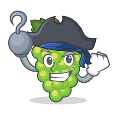 Pirate green grapes character cartoon vector