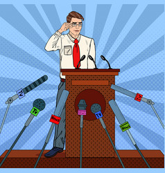 Pop art businessman giving press conference vector