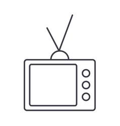 retro tv line icon sign on vector image