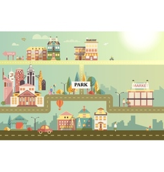 Set of buildings in the small business flat design vector
