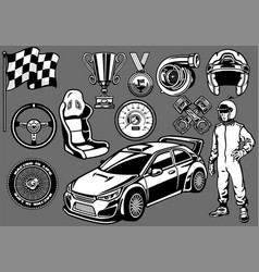 Set of rally car racing elements vector