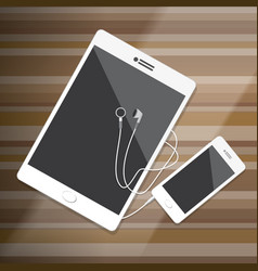Tablet and smartphone with earphone vector