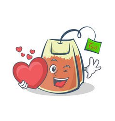 Tea bag character cartoon with heart vector