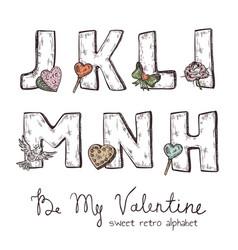 valentine alphabet vector image vector image