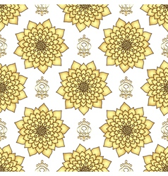 Vintage seamless pattern with golden lotus flowers vector image vector image
