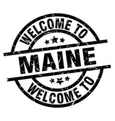 Welcome to maine black stamp vector