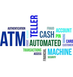 word cloud atm vector image vector image