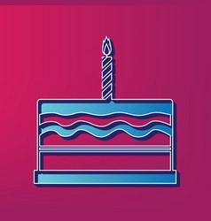 birthday cake sign  blue 3d printed icon vector image