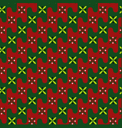 Acient pattern gentle colors of red green vector