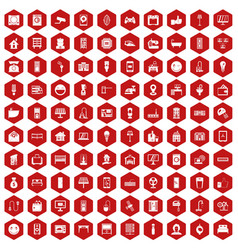100 smart house icons hexagon red vector