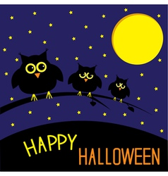 Three cute owls starry night and moon halloween vector