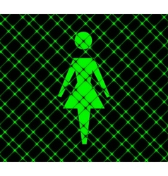 Woman restroom flat modern web button and space vector