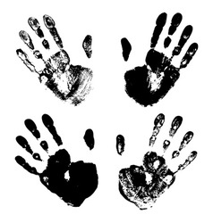 Set of black art hand prints grunge vector