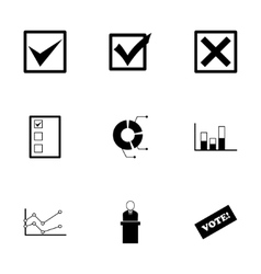 Black election icon set vector