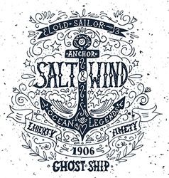 Hand drawn vintage label with an anchor and vector