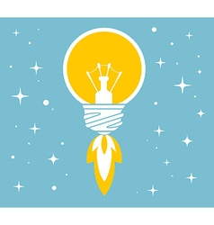 Flying yellow lightbulb on blue backgroun vector