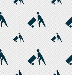 Loader icon sign seamless pattern with geometric vector