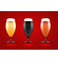 Beer glass with three brands vector